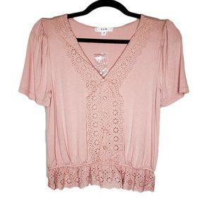 E&M Dusty Pink Crochet Short Sleeve VNeck Boho Top
